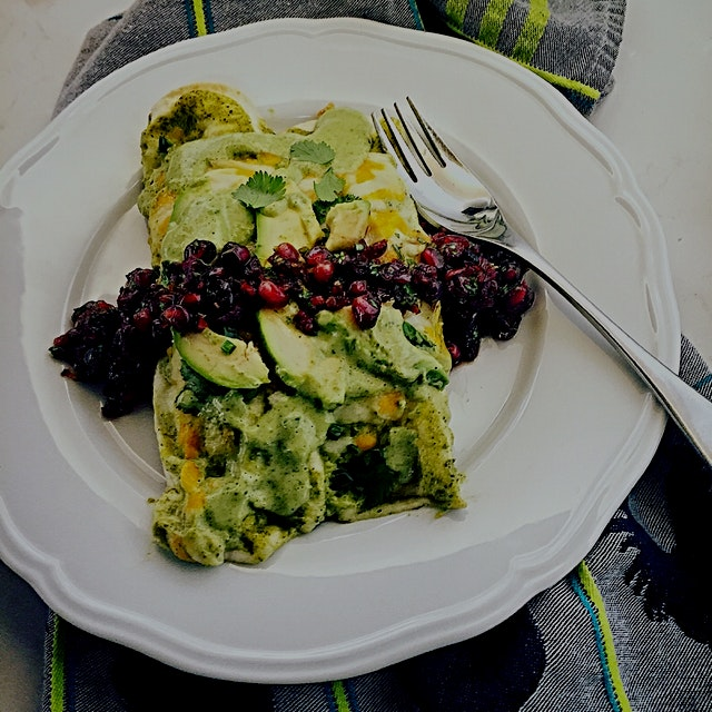 A fresh meal to balance all the rich ones! Chicken and Poblano Enchiladas with an Avocado Spinach...