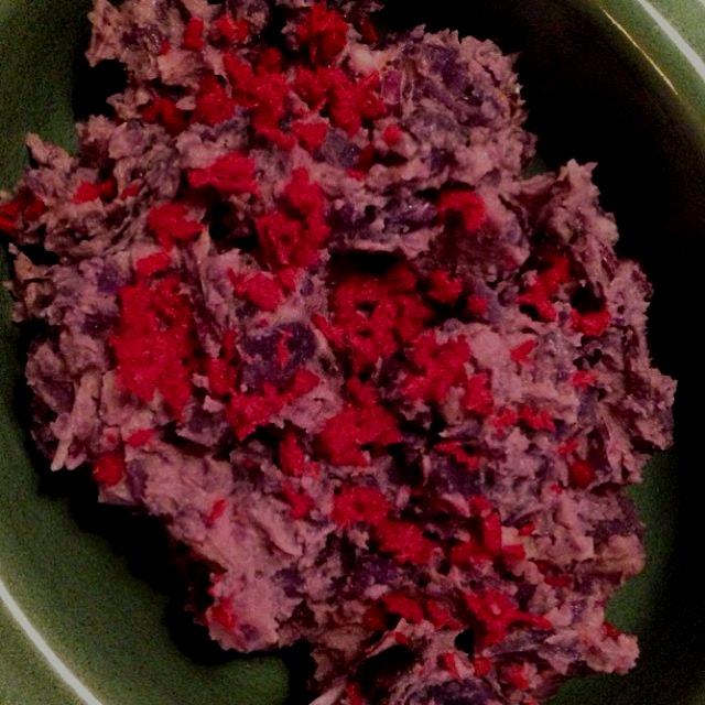 Purple potatoe salad with beet horseradish