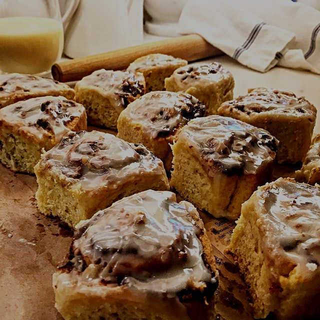 Having decadent cinnamon rolls in the house just got easier. The dough for these Eggnog Cinnamon ...