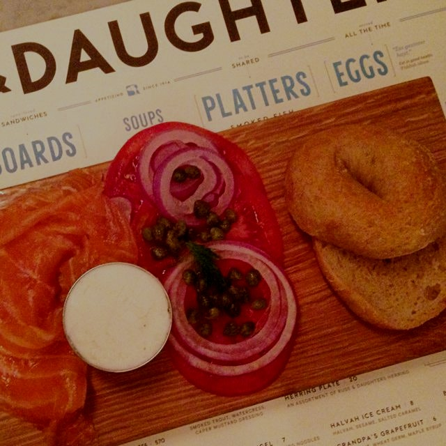 Because who doesn't love eating lox and (#glutenfree!) bagels for dinner?! Russ and Daughters caf...