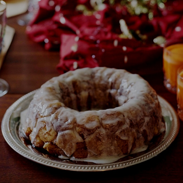 Homemade brioche monkey bread with cream cheese icing for Christmas morning.