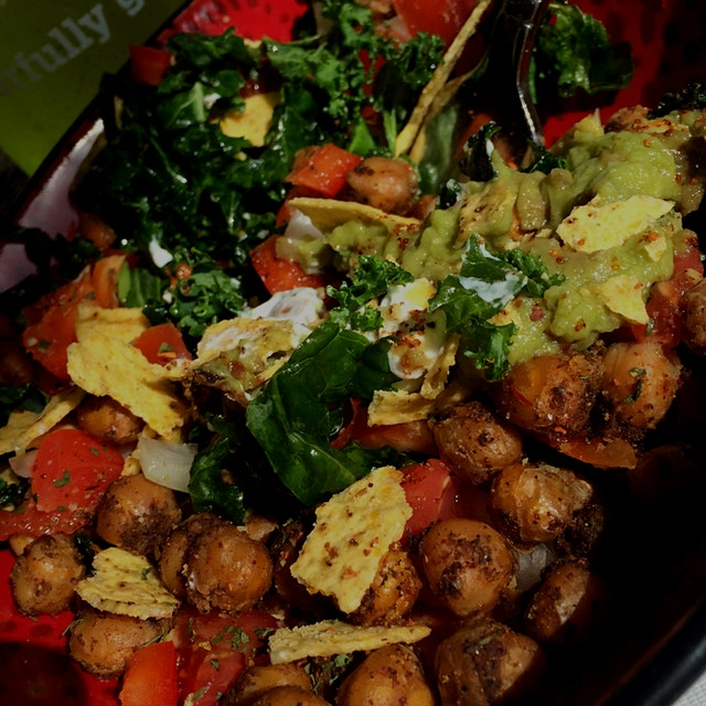 Fiesta Kale Salad with Spiced Chickpeas