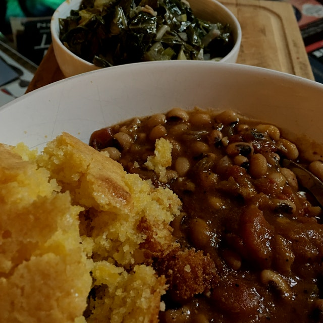 Celebrating the New Year with black eyed peas, cornbread and greens