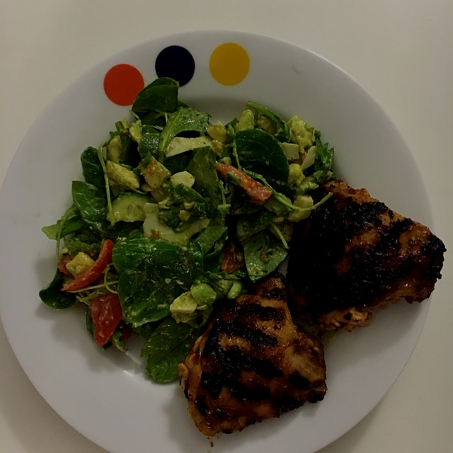 Grilled chipotle bbq chicken and salad