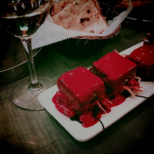 Beet puree, paneer and ginger daikon slaw - just one of the delicious veggie tastings from the Ch...