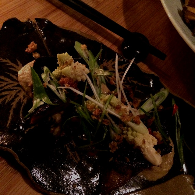East meets Near East - market  Japanese eggplant is cooked in sake, glazed in Hatcho miso sits on...