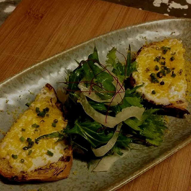 Luscious Beef lardo toast, made from Beef lard trimmings, topped w Bottarga and pickled Fennel Bu...