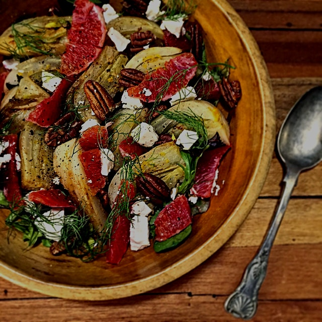 Another Meatless Monday winner: Braised Fennel and Blood Orange salad with pecans and feta. So yu...