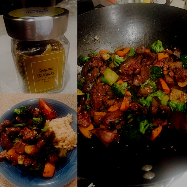 Sesame teriyaki spiced chicken livers and veggies cooked in wok .. Another homemade cooking exper...