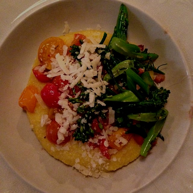 Simple dinner of polenta, stewed tomatoes, and broccolini with my little bro :)