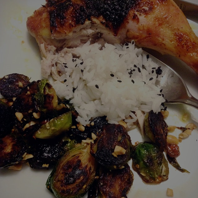 "Robb finally nailed the curry chicken and ""Martha's style"" brussel sprouts."