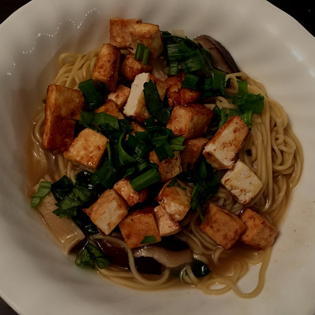 Ramen soup made at home with Ippudo noodles and hoisin glazed Tofu cubes.