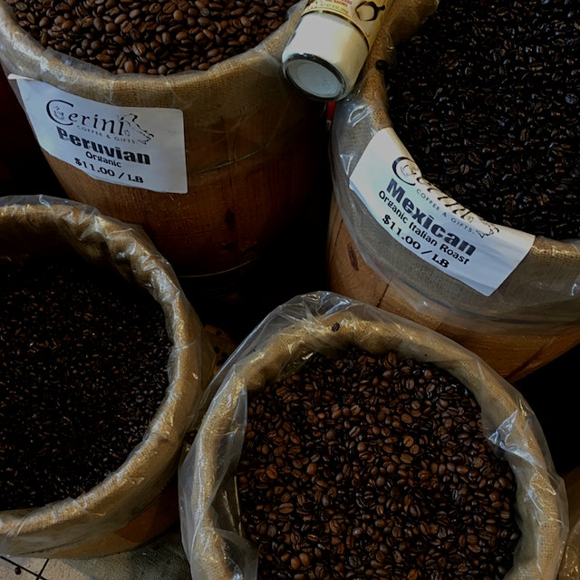 Coffee beans up at Cerini in the Bronx. Some nice options for Italian food up on Aurthur Ave.