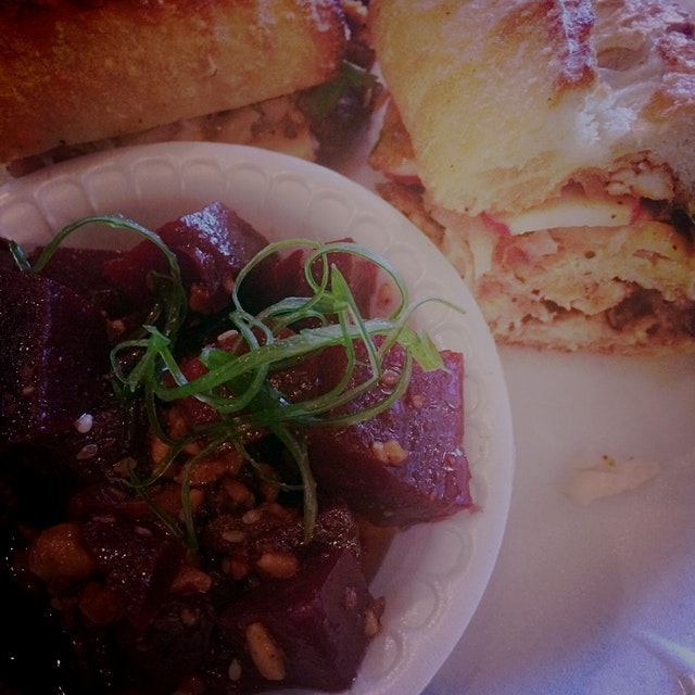 Roasted Beets and 5 Spice Chicken Sandwich #roadtrip