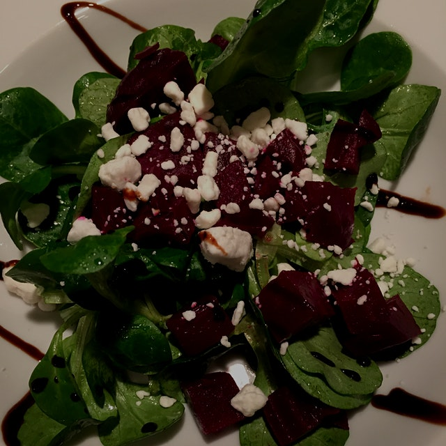 Mâche salad with roasted beets and soft goat cheese dressed with a light French vinaigrette #GetReal