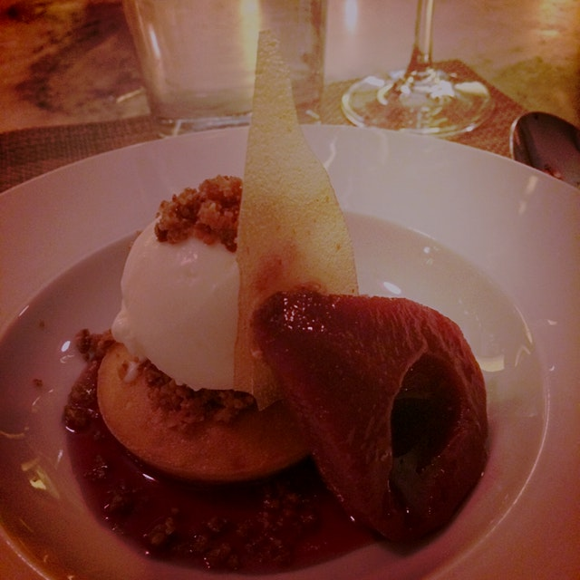 Sangria poached Pear with Almonds biscuit, Almonds nougatine, toasted Almonds gelato