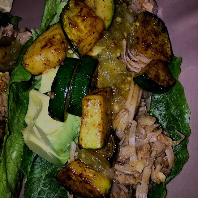 "Lettuce Wraps... Slow Cooked Jackfruit ""Pork"", Grilled Smoked Paprika Zucchini, Ripe Avocado, Fre..."