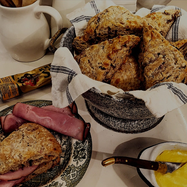 A savoury scone that sings of Europe! Caraway Rye Scones with caramelized onions and Gruyere chee...