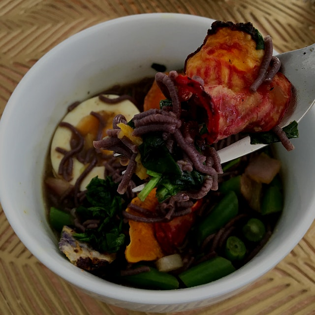 Love ramen. Added a crunch to it with beet chips.