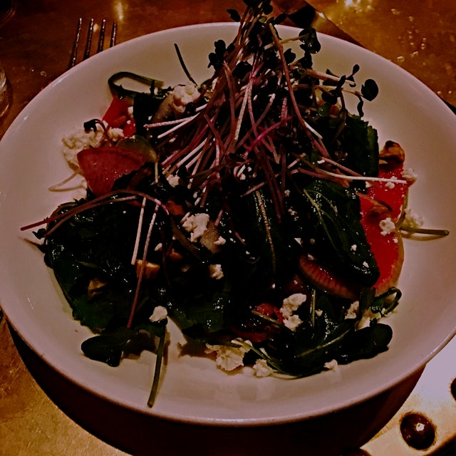 The radish salad was not only beautifully presented but delicious and the side of brussels were m...