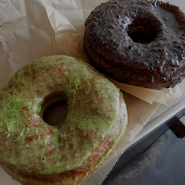 Tried some more doughnuts from the Doughnut Plant Taste of Japan menu - shiso and black sesame ye...