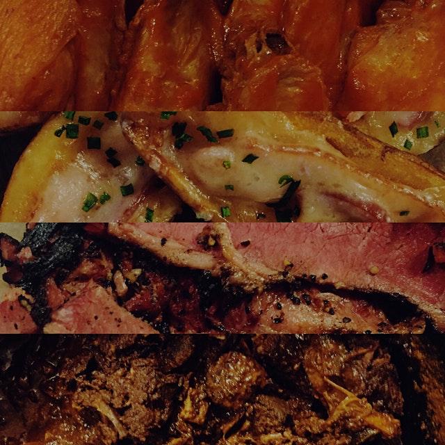 Snack attack! Wings, potato skins, pastrami, chili! #sb50