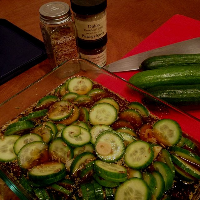 Quick pickles made with fennel seed, mustard seed, shaved garlic and apple cider vinegar. Can't w...
