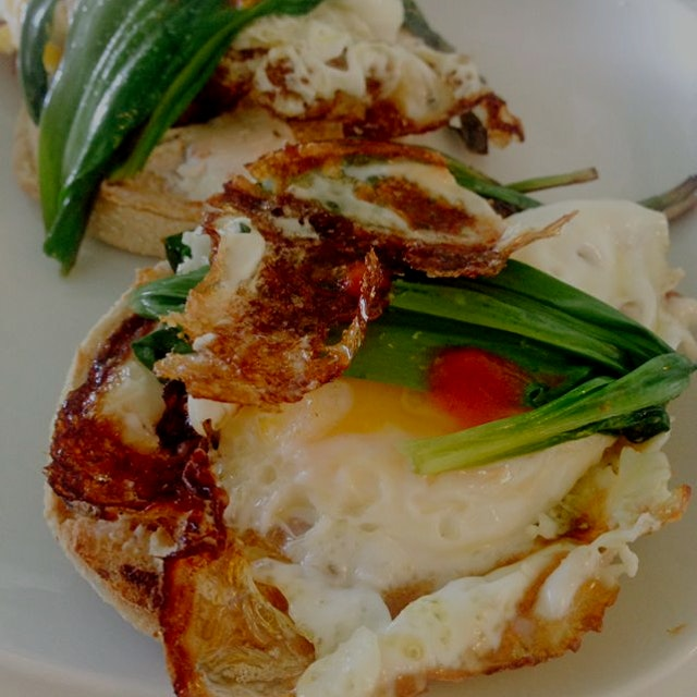 Fried egg, ramps, English muffin and rosemary goat cheese. Easy to make and delicious