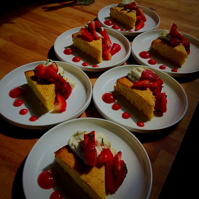 Featured Dessert - Cornmeal Almond Cake w/ Fresh Strawberries & Maple Mascarpone Cream