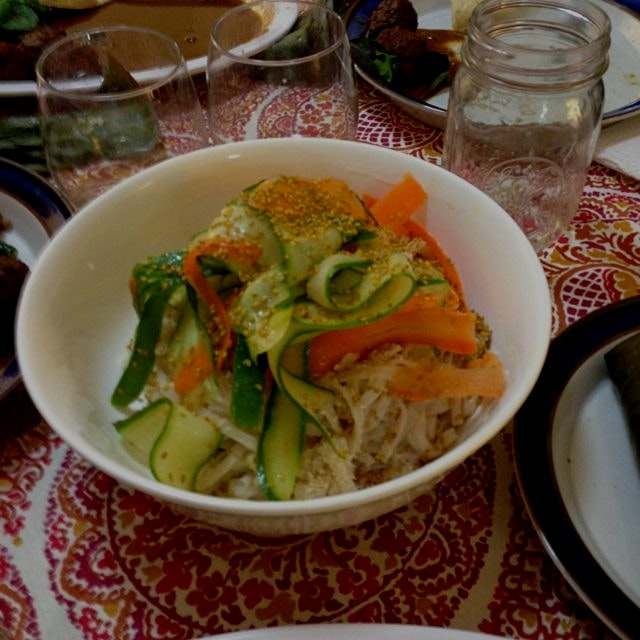 Peanut noodle with shaved carrot & cucumber salad!