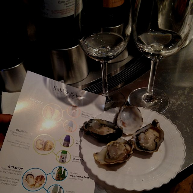 Kaki and Sake! Happy oyster week! @Rachna