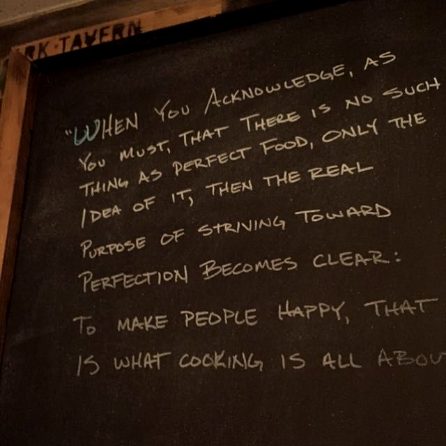 Spotted at City Oyster in Del Ray Florida. Quote attributed to Thomas Keller.