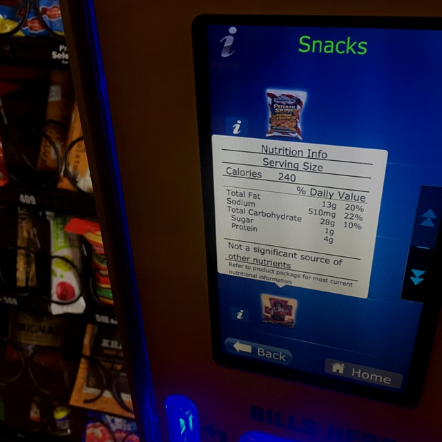 It's about time! Granted the snacks are fairly junky but at least you can examine what you're cho...