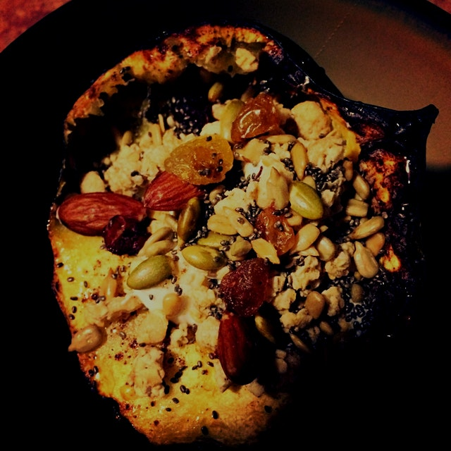 Roasted Acorn Squash with Greek Yogurt