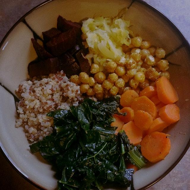 Roasted beets, quinoa, carrots, kale, chickpeas, sauerkraut