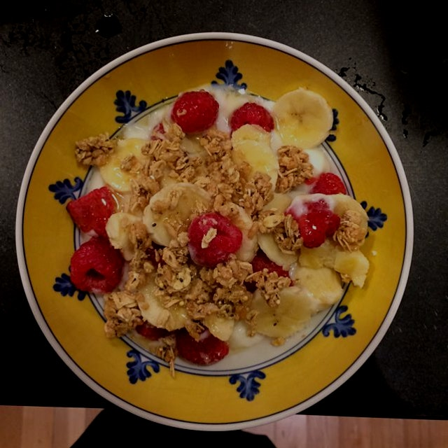 I can't believe they are still hungry, but there you go. Yogurt and fruit with granola.
