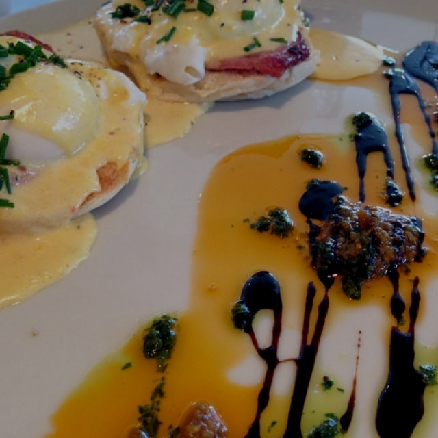 Amazing Eggs Benedict at the B&B I'm staying at. Side balsamic vinegar and pesto for dipping real...