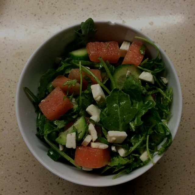Quick and simple salad, pretending summer isn't over yet. With a simple olive oil, lemon, and pep...