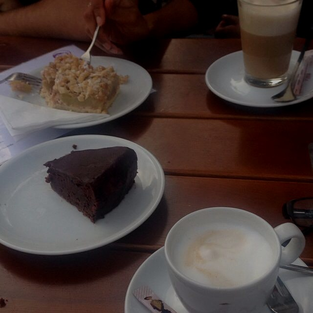 Kaffee und kuchen pause! (Coffee and cake break) after a long day of hiking. Chocolate torte + ap...