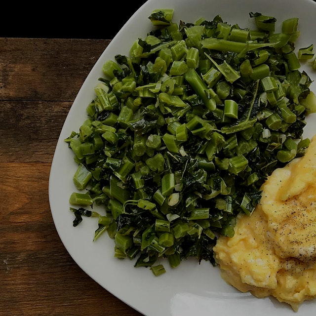 """""""""""Greening up breakfast with kale stems.  The stems are full of deliciousness just like the leave..."""
