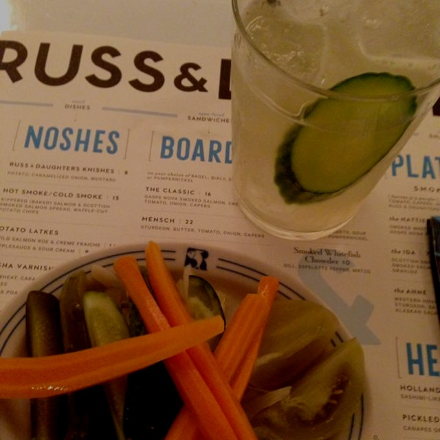 Pickled vegs and cucumber soda at Russ & Daughters cafe, LES