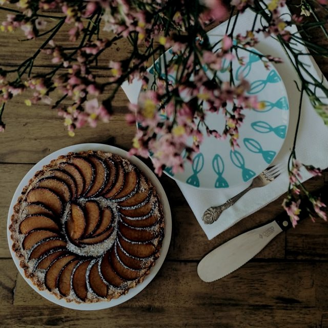 This dish is as beautiful as it is delicious. Using almond flour for the crust, the tart is glute...
