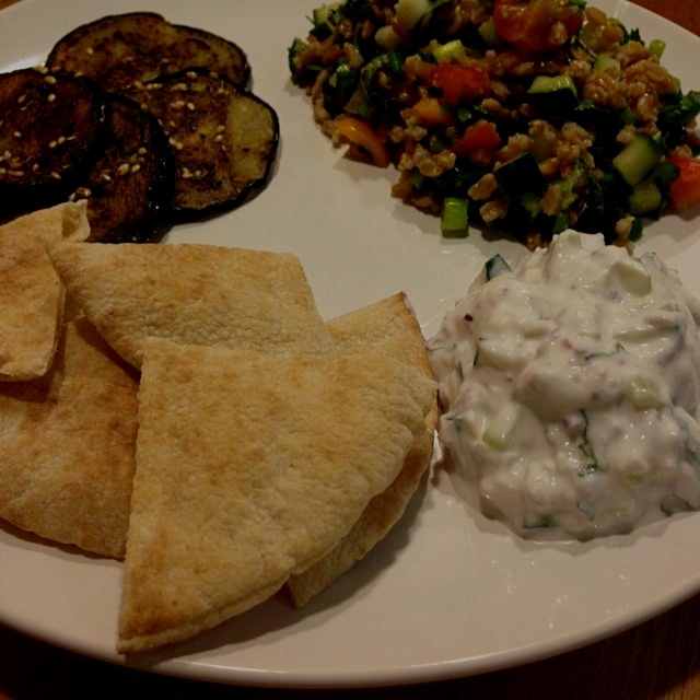 Well, it took most of the night, but was well worth it. Farro tabbouleh, fried eggplant with zaat...