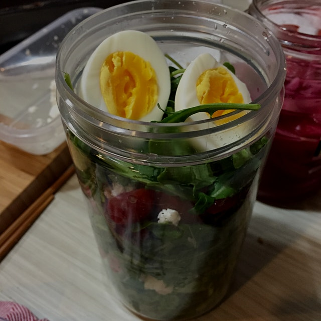 Because I'm too cheap to buy containers and I also eat way too much kimchi.   Arugula salad with ...