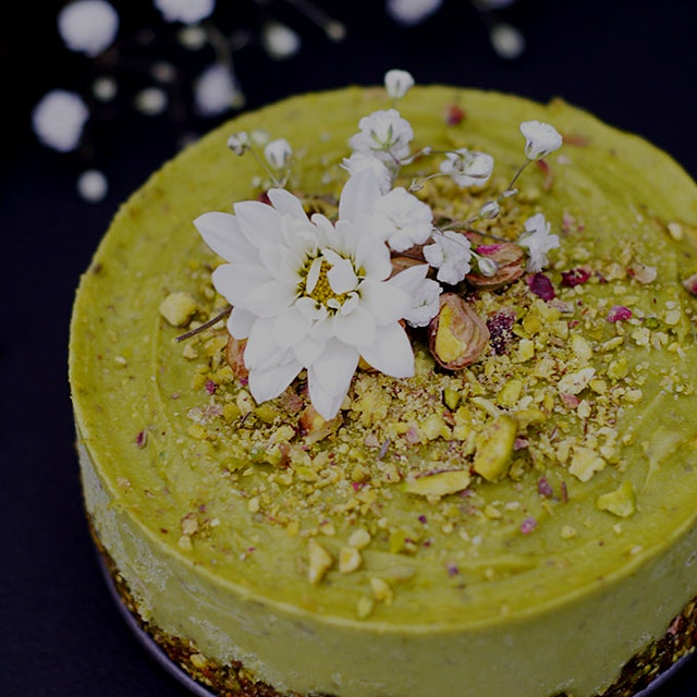 "Made another raw avocado cake: Pistachio and Orange Blossom Raw ""funfetti"" Cake. Perfect for when..."