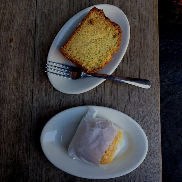 Lil eggie + olive oil cake at abraço in our new hood!
