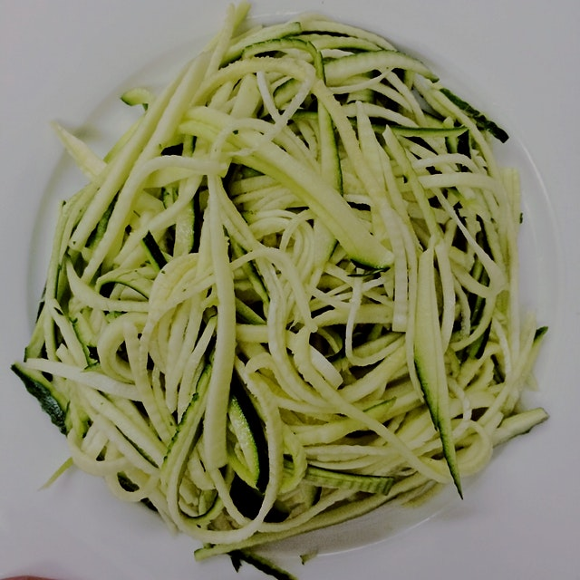 Non-spiraliser zucchini noodles - served with tomato and roasted red pepper sauce