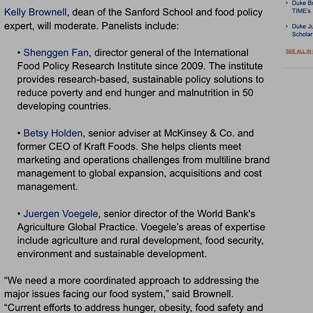 Leading food policy experts will sit down with corporate CEOs on Wednesday, April 27, at Duke Uni...