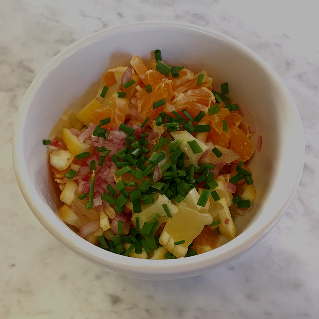 It's so easy to do- fruit (I used lemon and tangerine) + shallots + herbs (I picked chives from m...