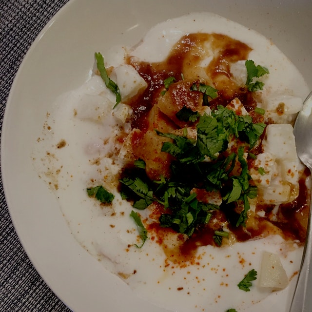 A typical Bombay snack - papdi Chaat - made with boiled potatoes, yogurt, chickpeas, papdi, tamar...